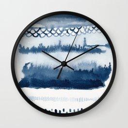 Beach Series Indigo Waves Watercolor Painting Wall Clock