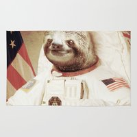 neil gaiman Area & Throw Rugs featuring Sloth Astronaut by Bakus