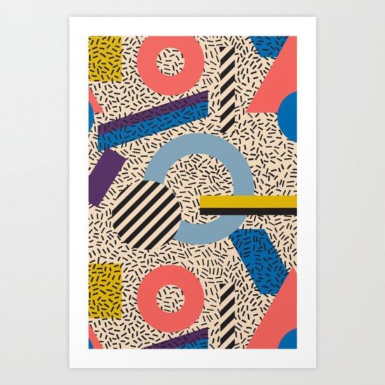 Memphis Inspired Pattern 3 Art Print