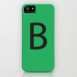 Letter B Initial Monogram - Black on Nephritis iPhone Case