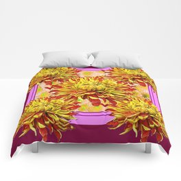 Stylized Abstracted Burgundy Yellow Chrysanthemums Floral Comforters
