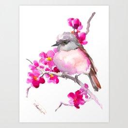 Pink Robin and Pink Flowers, Nursery Art Art Print