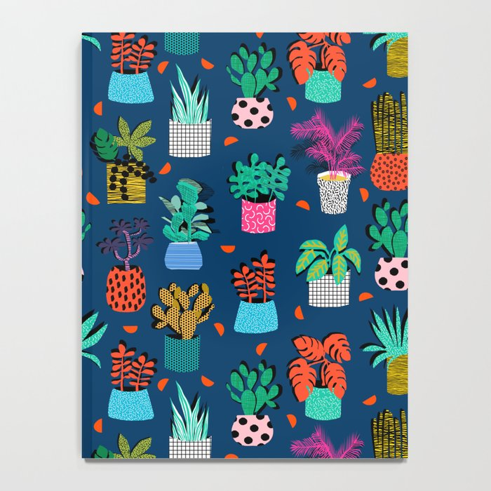 Check It - house plants indoor monstera neon bright modern pattern retro throwback memphis style Notebook