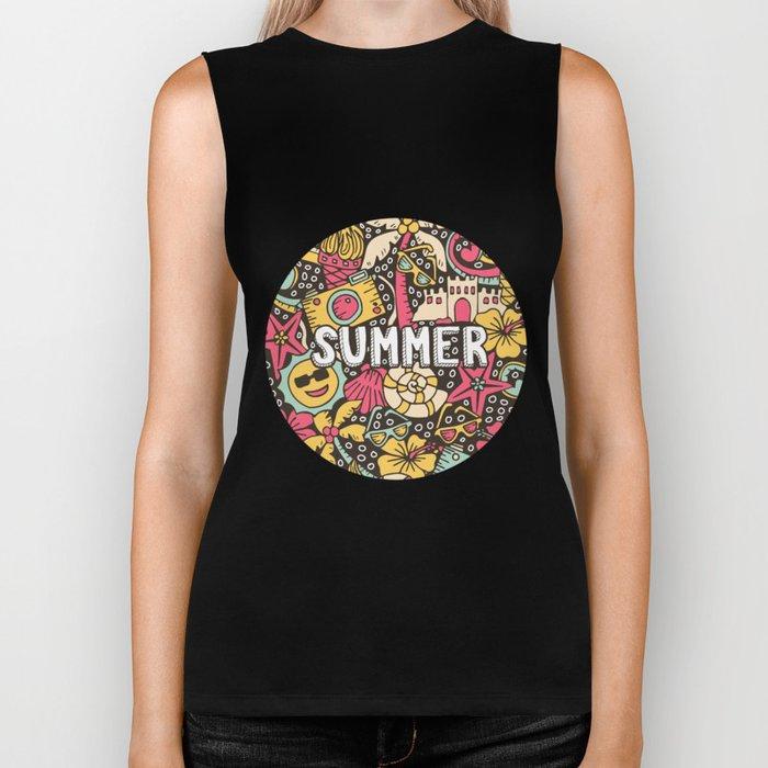Summer Doodle Biker Tank