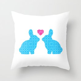 Pair of Blue Damask Patterned Bunny with Cute Pink Heart Throw Pillow
