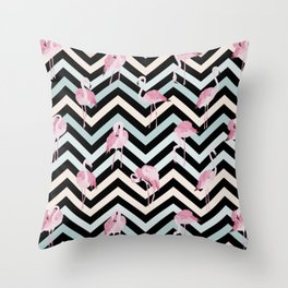 Flamingo on colorful chevron pattern Throw Pillow