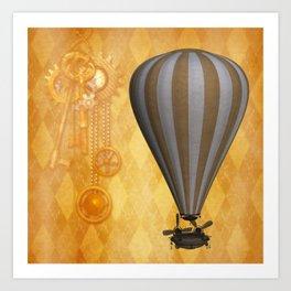 Steampunk Airship Gear Keys Clock Design Art Print