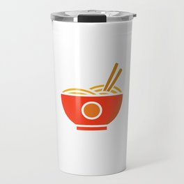 """Powered By Ramen"" Eating Noodles Out Of A Ramen Bowl T-shirt Design Noodles Chopstick Hot Pot Travel Mug"