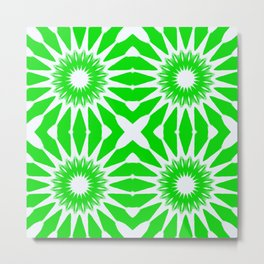 Green & White Pinwheel Flowers Metal Print