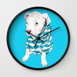 Pittie Puppy in Sweatshirt Pop Art Style Wall Clock