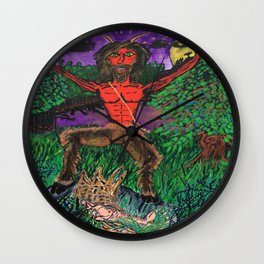Pan Finds A Nymph Wall Clock
