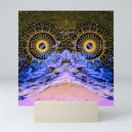 mandala eyes in the sky Mini Art Print