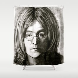 John in Black and White Shower Curtain