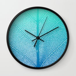 Simple leaf pattern in blue gradient Wall Clock