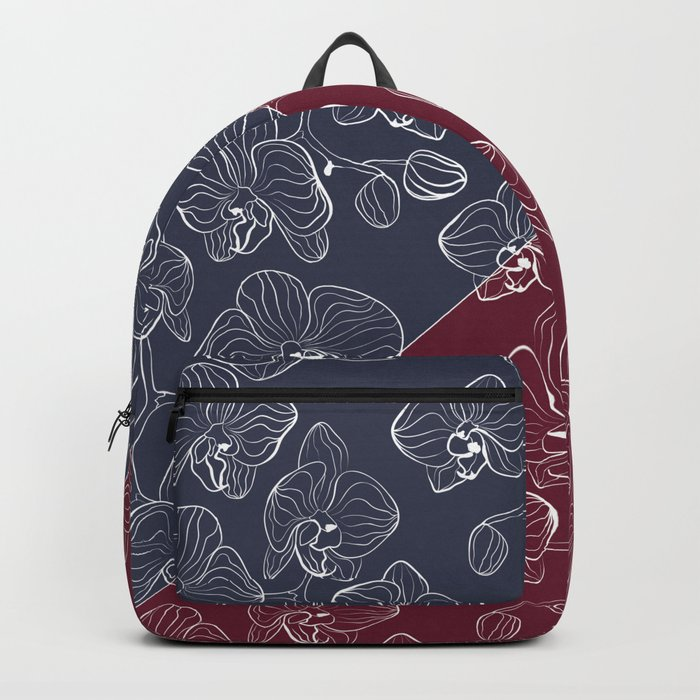 Retro . Orchid flowers on a red and blue background . The combined pattern . Backpack