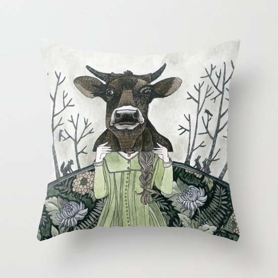 Cow Mask Throw Pillow