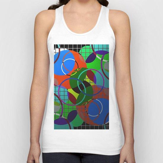 Caged Geometry - Abstract, metallic, geometric, rainbow coloured circles Unisex Tank Top