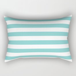 Horizontal Aqua Stripes Rectangular Pillow