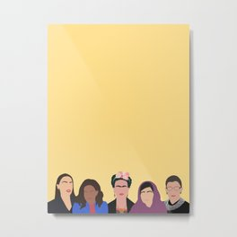 Feminist Squad Yellow Metal Print