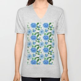 Hand painted sky blue green watercolor modern dahlia floral Unisex V-Neck