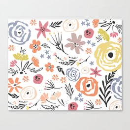 Floral Collage on White Canvas Print