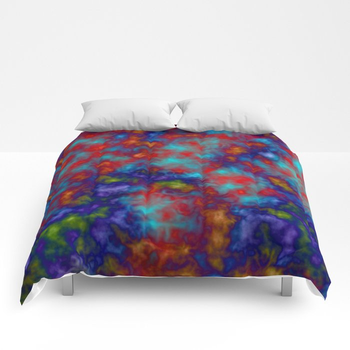 Abstract blue and red fancy design  with yellow orange traces Comforters