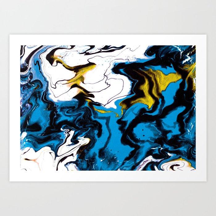 Dreamscape 01 in Blue, White & Gold Art Print