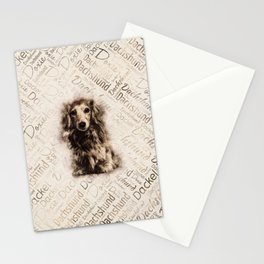 Longhaired Dachshund dog Stationery Cards