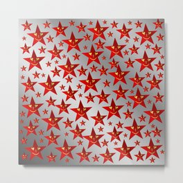 red stars and gold smilie in shiny silver Metal Print