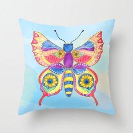 Sunflower Butterfly Throw Pillow