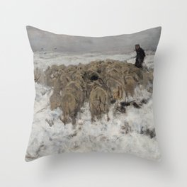 Flock of sheep with shepherd in the snow by Anton Mauve Throw Pillow