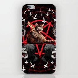 satanic cat pentagram death black metal band exorcist iPhone Skin