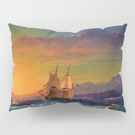 Ship at Sunset off of Cape Martin by Ivan Aivazovsky Pillow Sham