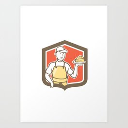 Cheesemaker Holding Parmesan Cheese Cartoon Art Print