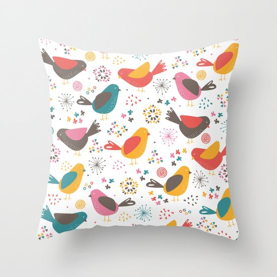 Quirky Throw Pillow : Quirky Chicks Throw Pillow by Poppy & Red Society6