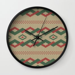 Knitty (Knitted Yellow Zigzag Ornament) Wall Clock