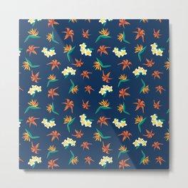 Exotic Florals Blue Metal Print