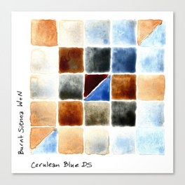 Color Chart - Burnt Sienna (W&N) and Cerulean Blue (DS) Canvas Print