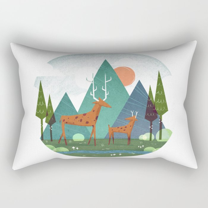 Deer and son Rectangular Pillow