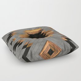 Urban Tribal Pattern 6 - Aztec - Concrete and Wood Floor Pillow