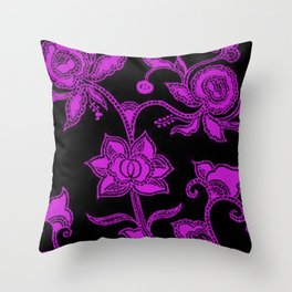 Vintage Floral Dazzling Violet and Black Throw Pillow