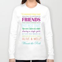 winnie the pooh Long Sleeve T-shirts featuring Winnie the Pooh Friendship Quote - Bright Colors by Jaydot Creative