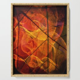 Abstract Nature Autumn Leaves Serving Tray