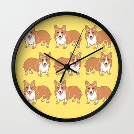 Happy Corgi Pattern Wall Clock