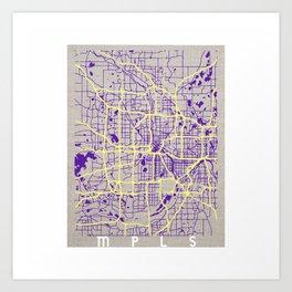 Minneapolis Minnesota Simple Map Art Print