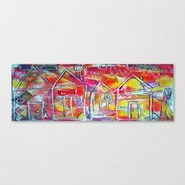 Orange Neon Houses Canvas Print