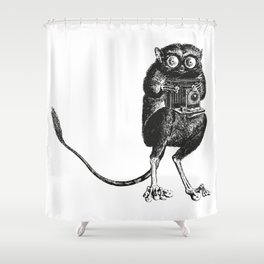 Say Cheese! | Tarsier with Vintage Camera | Black and White Shower Curtain