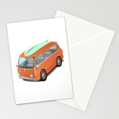 Retro bus with a surfboard. Stationery Cards