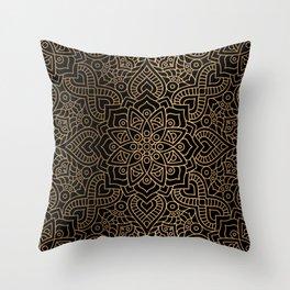 Black Gold Mandala Throw Pillow