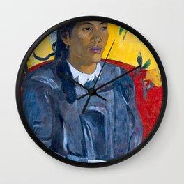 "Paul Gauguin ""Tahitian Woman with a Flower (Vahine no te tiare)"" Wall Clock"